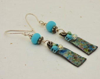 Boho Blue Earrings, LightWeight Enamel Earrings, Aqus Blue Jewelry, Handmade Sterling Silver Ear Wires, Modern Art Jewelry, Ocean Inspired