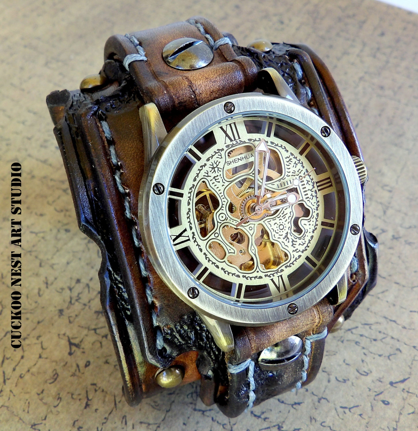 brown watch bracelet mens skeleton gift cuff aged pin mechanical wrist steampunk leather