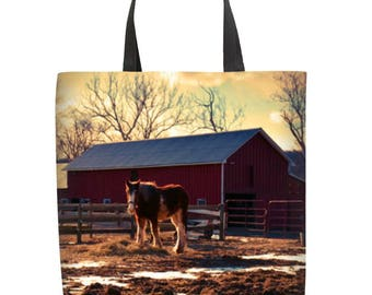 Tote Bag, Clydesdale 18x20 Canvas Tote Bag, Custom Photo Tote Bag