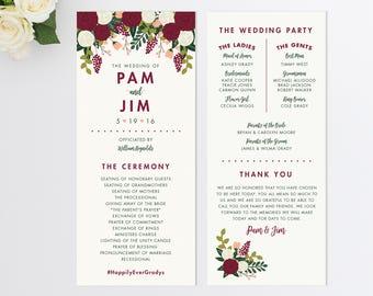 Custom Wedding Program  Vintage Inspired Wedding Program  Order of Ceremony  Botanical Wedding Program  Fall Wedding Program