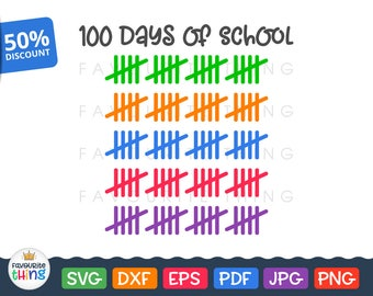 100 Days of School Svg 100th Day Svg Tally Marks Svg Teacher Clip Art cut file for Silhouette Dxf Cuttable Cricut Design Download png pdf