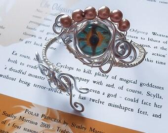 Wrapped Dragon Bracelet - Wire Wrapped Bracelet - Dragon Bracelet - Dragon Cuff - Wrapped Cuff - Dragon Jewelry - Dragon eye
