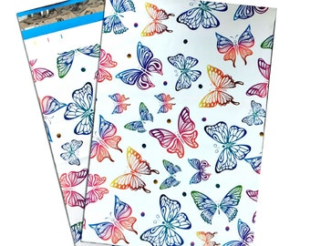 """10x13"""" Rainbow Butterfly FLAT POLY MAILERS Postal Approved Mailers  (100 Pack)"""