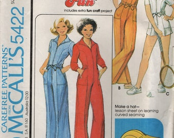 McCall's 5422 Girl's Size 8 Short or Long JUMPSUIT WITH CAP 1970s