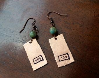 605 South Dakota Copper Earrings with River Shell Beads