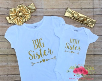 Little sister/big sister shirts/ Birth announcement/ Sibling shirts/ little sister bodysuit/ baby shower gift, Sibling Gender Reveal
