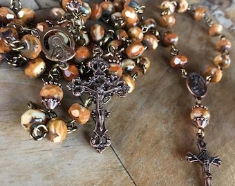 Rosary, handmade with czech artisan rondelle picasso beads and tibetan copper crucifix and findings, includes matching pocket rosary