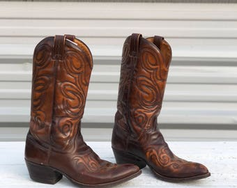 11 D | 1970's Dan Post Western Stitch Brown Cowboy Boots