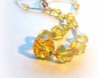 1930s Yellow Crystal Necklace, radiant color faceted beads, 16 inch
