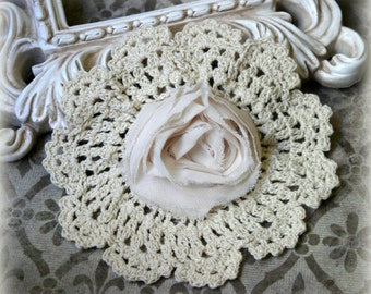 Tresors  Ivory Unique Vintage Handmade Cotton Crochet Doily with Attached Rosette Approx. 6 inches across DL-008