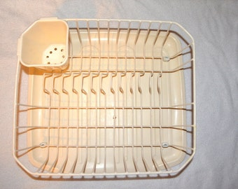 Vintage Rubbermaid Cream Vinyl Coated Dish Drainer With Matching Protector Mat Kitchen Decor