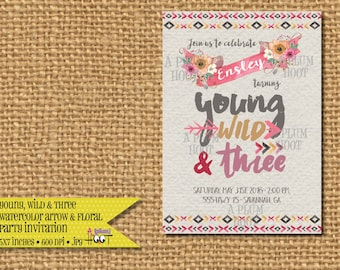 Young, Wild and Three Watercolor Arrow  Invitation (Personalized, DIY, 5X7 Printable)