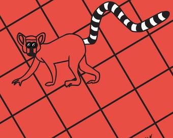 Abstract Lemur Print  by Rachael Partis Design
