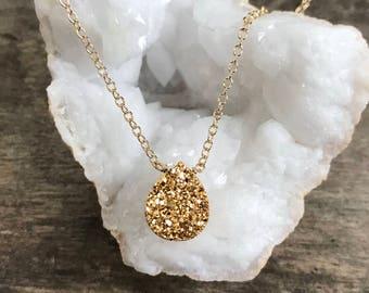 Gold Druzy Necklace, Druzy Quartz Necklace, Drusy Necklace, Layering Necklace, Gemstone Necklace, Druzy Jewelry, 14K GF Cable Chain