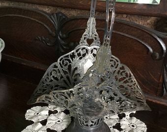 Antique Forbes Silver Company Silver Plate Bride's Basket...Folk Art Primitive Victorian Wedding Rustic Cottage Chic Flower Vase Centerpiece