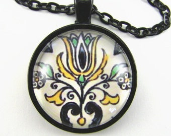 Spanish Tile TULIP TILE Necklace -- Abstract tulip in yellow blue & cream with flowers, Mediterranean art, From a hand-painted Spanish tile