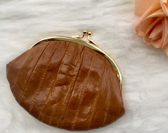 Vintage Coin Purse Genuine Eel Skin Kiss Clasp