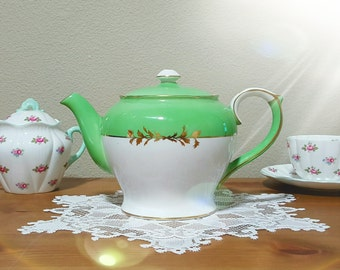 Shelley Ivory and Green Teapot