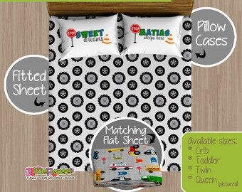 Traffic Jam Custom Fitted and Flat Sheets - Kids Bed Sheets - Customized Children Bedding - Kids Pillowcase - Transportation Bedroom Decor