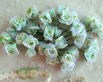 36p Lime Green White Wired Satin Organza Rose Flower Applique Bridal Wedding Bouquet