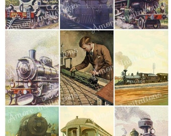 Printable Vintage Steam Trains Locomotive Digital Collage Sheet, Clip Art Images ATC Father's Day, JPEG PDF, Instant Download Commercial Use