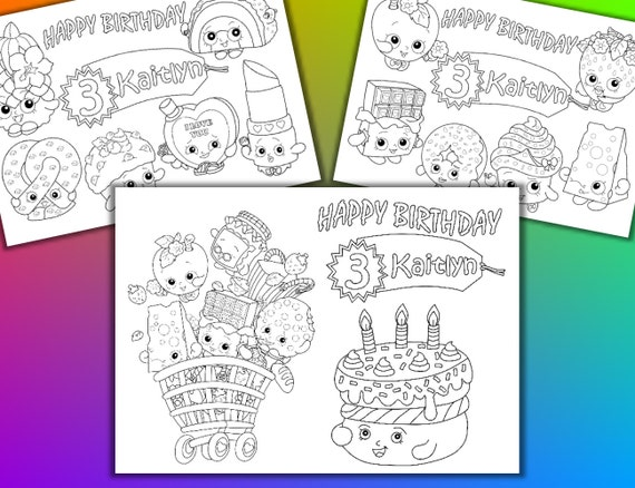 Shopkins Birthday Party Favor Coloring Pages PDF