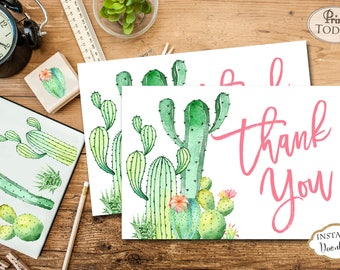 INSTANT DOWNLOAD - Cactus Southwest Thank You Card - Cactus Thank You Note - Thank You - Southwest - Succulent - 0551 0552 0553