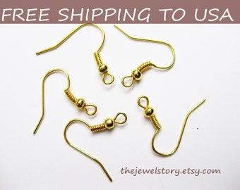 100pcs Golden Earring Hooks, 18mm high, FREE SHIPPING to USA