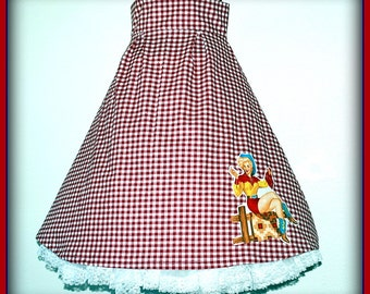 Sale...Rockabilly Retro Pin Up Cowgirl Full Checkered Skirt ....Size XXL PLUS
