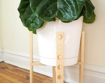 """Mid Century Modern Plant Stand, Wooden Plant Stand, Indoor Plant Stand, 6"""", 8"""", 10"""", 12"""" Pots, Modern Minimalist Planter, Retro Plant Stand"""