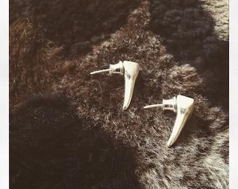 Aleksandra Puchacz handmade sterling silver Tusk earrings