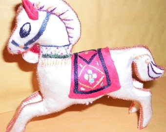 Vintage Decorated Horse Collectible Cloth Figurine, 1980s