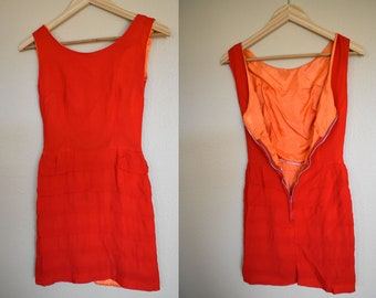 As Is Chiffon Dress / Extra Small / Two Toned Orange Dress / Vintage Orange Dress / Chiffon Dress / Vintage Chiffon