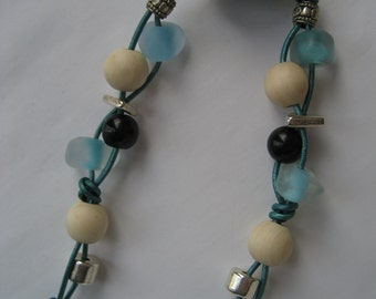 SALE Teal, Green and Blues Beaded Leather Necklace