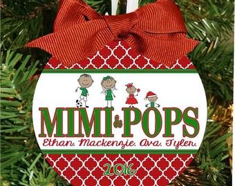 Quatrafoil Christmas Ornament, Grandparents Ornament, Grandma Christmas, Personalized Ornament, Family Ornament, Christmas Gift Holiday Gift