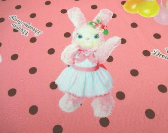 SALE Japanese Fabric KOKKA Usaron Rabbit Polka Dots Pink FQ