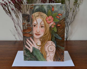 Wood Nymph Greetings Card - Fantasy Art Painting Faery - with envelope