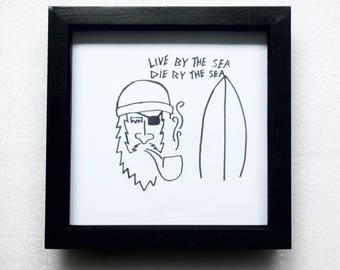 Surf Inspired Framed Illustration
