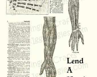 Sepia Toned Collage Sheet Download of Vintage Anatomical Hand Images for Halloween decor and crafting