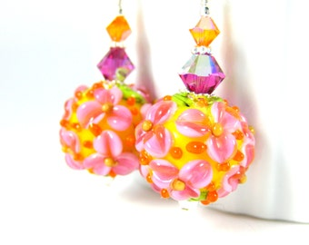 Pink Yellow Orange Round Floral Dangle Earrings, Bright Colorful Glass Earrings, Nature Jewelry, Botanical Jewelry, Flower Lampwork Earrings