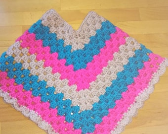 Smart poncho for babies and toddlers in beige-turquoise-pink for your little treasure or as a gift