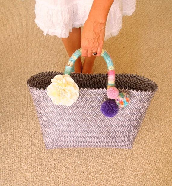 Purple pom pom market bag - Bali handwoven plastic bag - Upcycled plastic woven bag - Decorated bobble beach bag - Market bag - Beach bag
