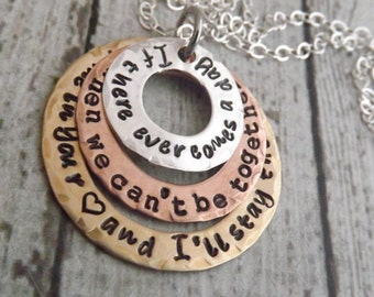 Winnie the Pooh quote-mommy necklace-personalized necklace-mixed metal-deployment necklace