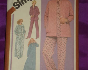 1980s 80s Vintage Long Sleeve Floor Length Nightgown Pajama Top n Pants Robe in 2 Lngths UNCUT Simplicity Pattern 9784 Bust 34 US 87 Cm