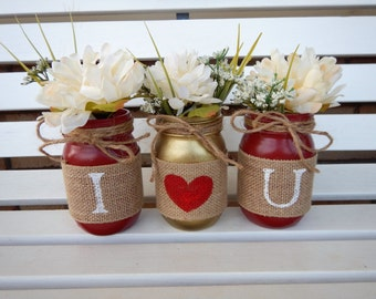 Valentine's Day Decor, I Love You Mason Jars, Valentine's Centerpiece, Valentine's Mason Jars, Red & Gold Jars, Wedding Decor