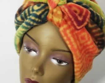Polar fleece, fashion turban, hat, green,orange, full turban, winter, vintage style, bohemian, designer. Sm, Med, L, XL. Free shipping USA.