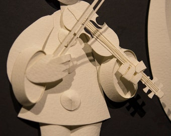 Pierrot with Violin Paper Sculpture