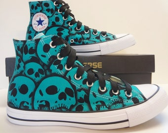 Converse Skull shoes  US WomensSize 10.5 - US Mens Size 8.5 Custom skull shoes hand painted by RokGear