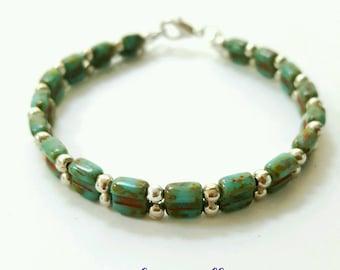 Rustic glass bracelet, turquoise glass beaded bracelet, czech glass bracelet, rustic jewelry, beaded bracelet, czech glass jewelry