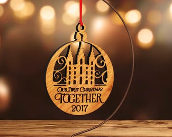 LDS Temple Ornament, Salt Lake City, Family Forever (or Customize) in Laser Cut Hardwood